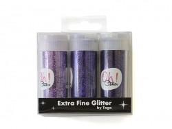 3 Röhrchen mit Glitzer - lila
