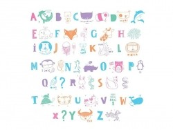 Lightbox accessories - pastel-coloured letters and illustrations