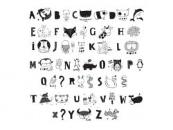 Accessoires lightbox - alphabet illustré noir A little lovely Company - 1