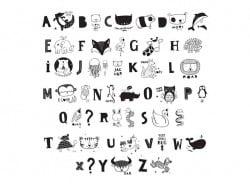 Accessoires lightbox - alphabet illustré noir