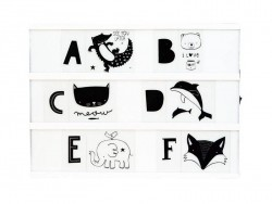 Lightbox accessories - black letters and illustrations