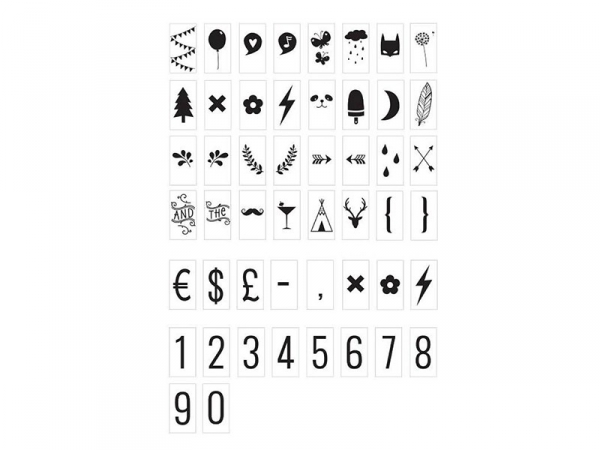 Lightbox accessories - black numbers and symbols