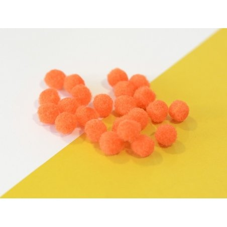 Pompon orange fluo - 10 mm