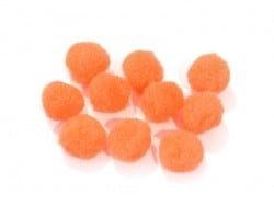 Pompons orange fluo - 25 mm