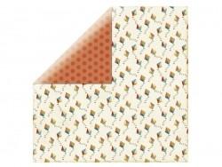 Scrapbookingpapier - orangefarbene Punkte/Drachen
