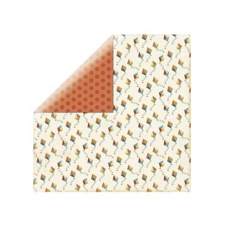 Feuille de scrapbooking - pois orange / cerf volant