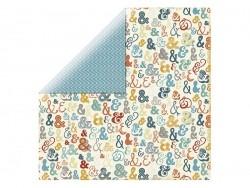 Scrapbooking paper - blue zigzag pattern/ampersand