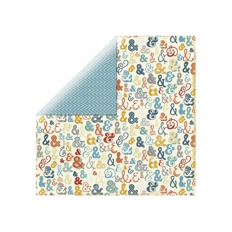 Feuille de scrapbooking - chevron bleu / esperluette