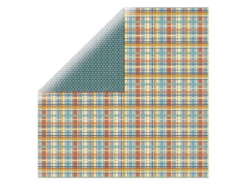 Feuille de scrapbooking - triangle vert / carreaux