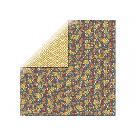 Feuille de scrapbooking - géométrie moutarde / fleurs