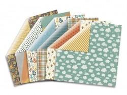 Feuille de scrapbooking - coeurs bleus / formes multicolores