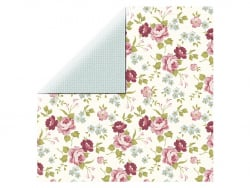 Scrapbooking paper - flowers/green crosses