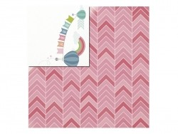 Feuille de scrapbooking - baby / chevron rose