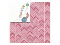 Scrapbookingpapier - Baby/rosafarbenes Zickzackmuster