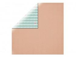 Scrapbookingpapier - orange mit weißen Punkten/Pflanzen