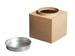 Customisable papier mâché box with an aluminium lid