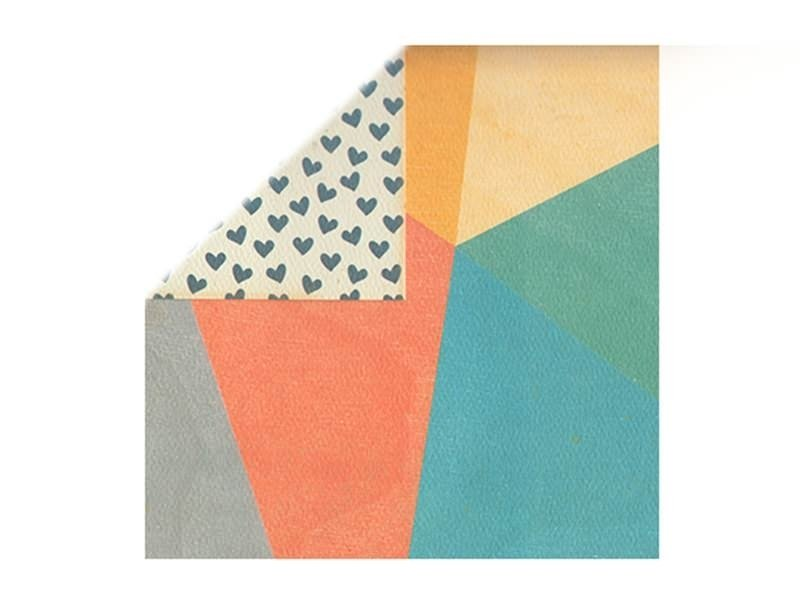 Scrapbooking paper - blue hearts/shapes in different colours