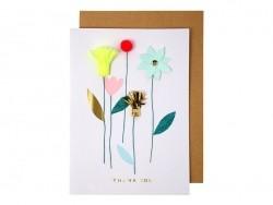 """Karte mit Blumen - """"Thank you"""""""