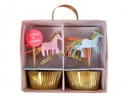 Set of 24 cupcake cases and 4 decorative, festive toothpicks - Unicorn