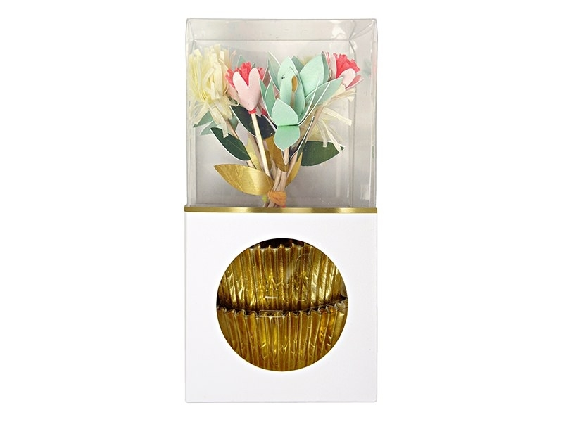 Set of 24 cupcake cases and 3 decorative, festive toothpicks - Flowers