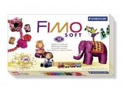 Coffret 10 demi-pains de pâte FIMO SOFT + vernis + tapis + outil