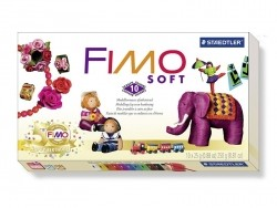Set of 10 Fimo Soft half blocks + varnish + work pad + modelling tool