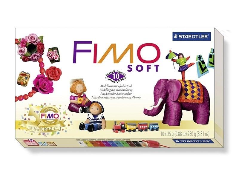 Set of 10 Fimo Soft half blocks + varnish + work pad + modelling tool