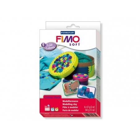 Set of 6 Fimo Soft blocks - Cool colours