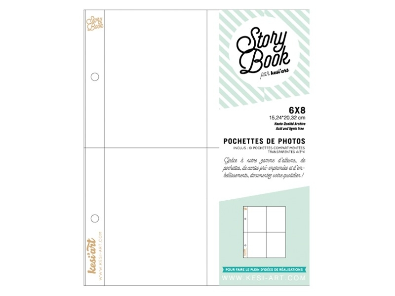 10 pochettes pour photos 6*8 - 4 compartiments