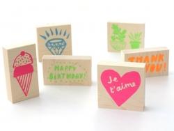 "Stamp kit ""Fait maison"" (12 pcs) + 1 black ink pad"