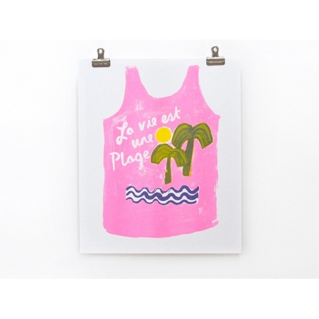 """""""La vie est une plage"""" poster - Risograph print"""