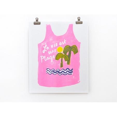 """Acheter Affiche """"La vie est une plage"""" - risographie - 24,90€ en ligne sur La Petite Epicerie - 100% Loisirs créatifs"""