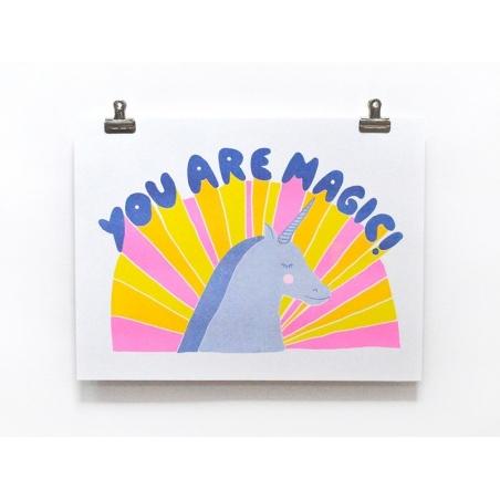 "Unicorn poster - ""Magic"" - Risograph print"