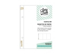 10 folding page protectors (10.5 x 16.5 cm) - 3 pockets