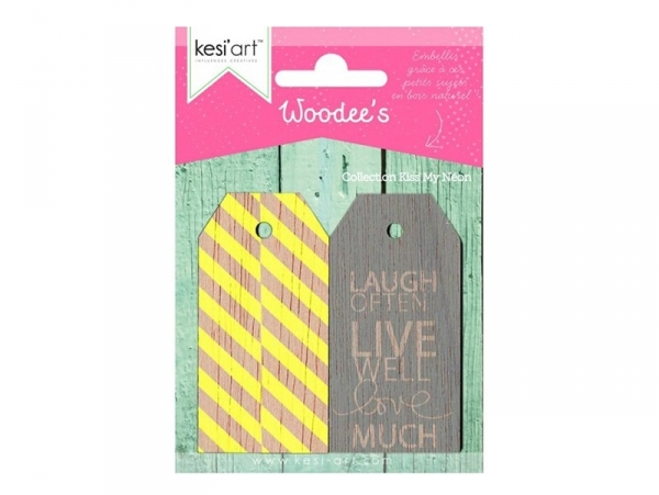 """Wooden tag - """"Kiss my neon"""" - neon yellow"""