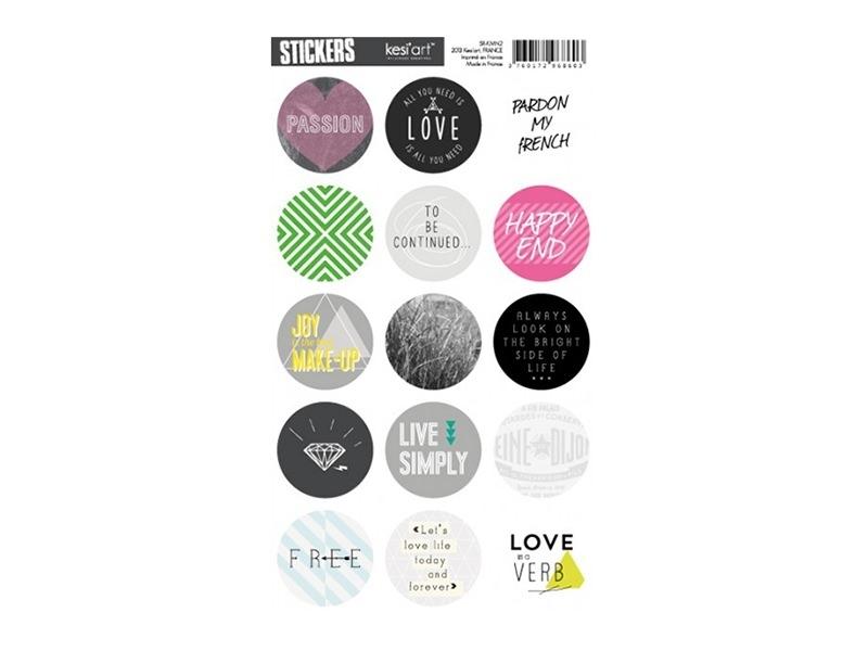 "Round stickers - ""Kiss my neon"""