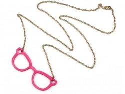 Sautoir lunettes de geek  /  Rose
