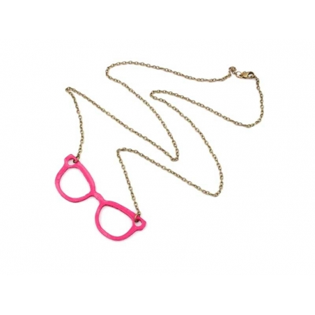 Nerd glasses necklace (long) / pink