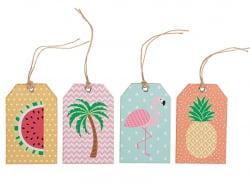 12 étiquettes cadeaux - tropical