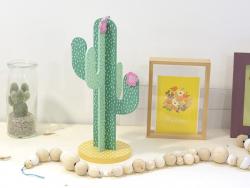 Présentoir à bijoux en bois - cactus