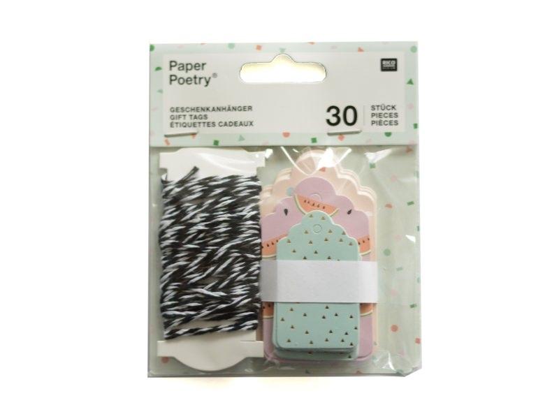 Acheter 30 étiquettes cadeaux - tropical & confetti - 4,80€ en ligne sur La Petite Epicerie - 100% Loisirs créatifs