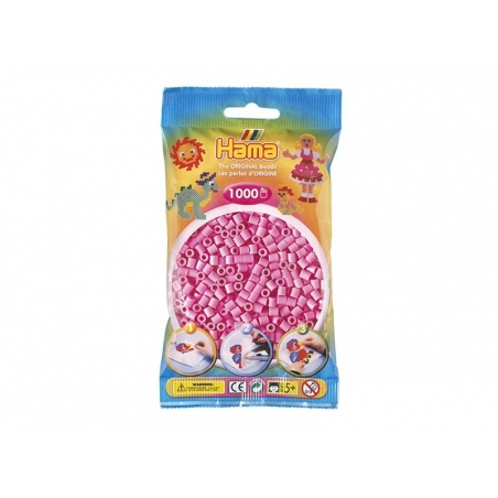 Bag of 1,000 HAMA MIDI beads - pastel pink Hama - 1
