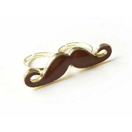 A dark brown moustache double ring