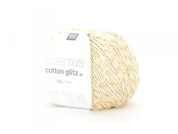 "Knitting yarn - ""Essentials Cotton Glitz DK"" - cream (colour no. 06)"