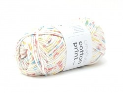 "Cotton knitting yarn - ""Creative Cotton Print Aran"" - yellow, red and blue (colour no. 14)"
