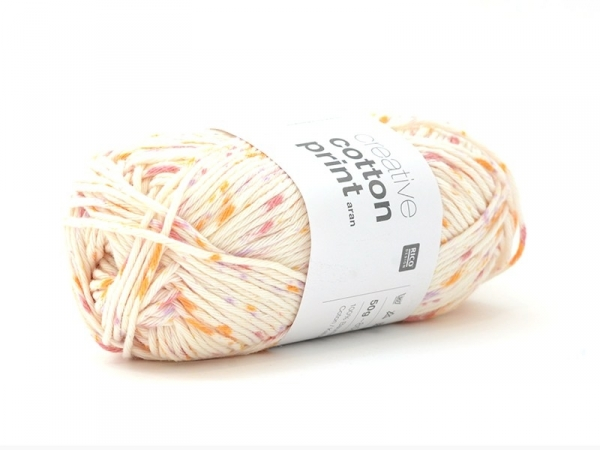 "Cotton knitting yarn - ""Creative Cotton Print Aran"" - orange, pink and violet (colour no. 16)"
