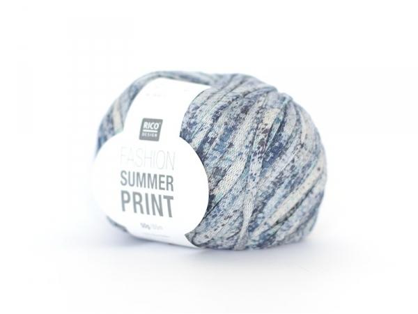 "Knitting yarn - ""Fashion Summer Print"" - denim (colour no. 03)"