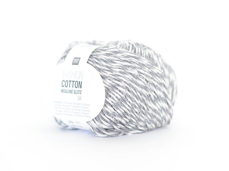 "Knitting yarn - ""Fashion Cotton Mouliné Glitz DK"" - grey (colour no. 02)"