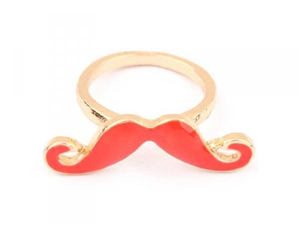 Bague moustache Rouge  - 1