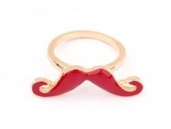 Bague moustache Rouge Foncé / bordeaux  - 1